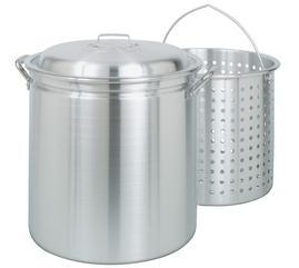 Bayou Classic 102 Qt. Pot Stainless Steel Crawfish Boiling Pot w/Lid & Basket #1102