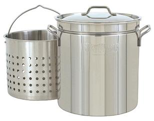 Bayou Classic 44 Qt. Stainless Steel Crawfish Boiling Pot, Steamer & Fryer w/Basket #1144