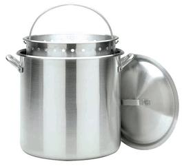 Bayou Classic 100 Qt. Aluminum  Boiling Pot with Lid & Basket #1000