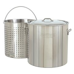 Bayou Classic 60 Qt. Aluminum Crawfish Boiling Pot with Strainer #4060